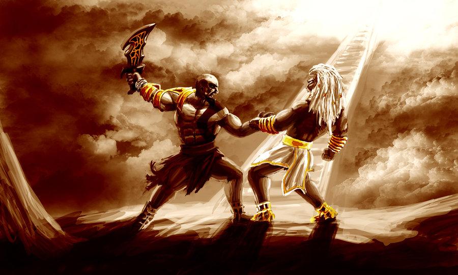 kratos vs  zeus by petugee d3jqufy تاریخچه خدای جنگ | قسمت سوم: کابوس خدایان