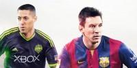 Clint Dempsey در کنار Lionel Messi بر روی جلد FIFA 15