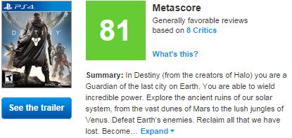 Destiny1 لیست نمرات Destiny منتشر شد ( به روزرسانی مجدد انجام شد )