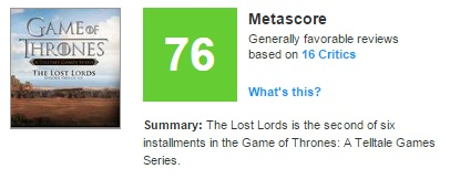 متاسکور بازی Game Of Thrones : The Lost Lords