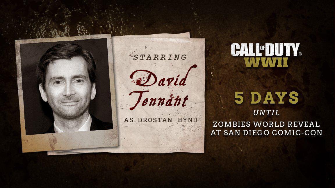دیوید تننت در بخش زامبی Call of Duty: WW2 ایفای نقش میکند