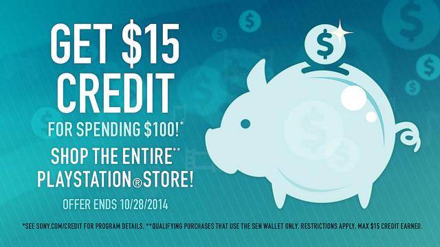 با خرج کردن 100 دلار در North American PS Store صاحب 15 دلار Credit شوید