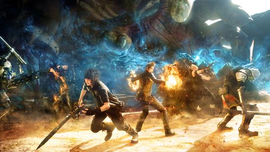Final_Fantasy_XV_key_art;_characters_in_battle