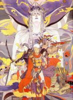 یکی از طراحی های آمانو که قهرمان های FF2 را نشان می دهد