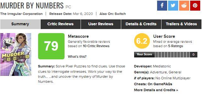 نقدها و نمرات بازی Murder by Numbers منتشر شد 5