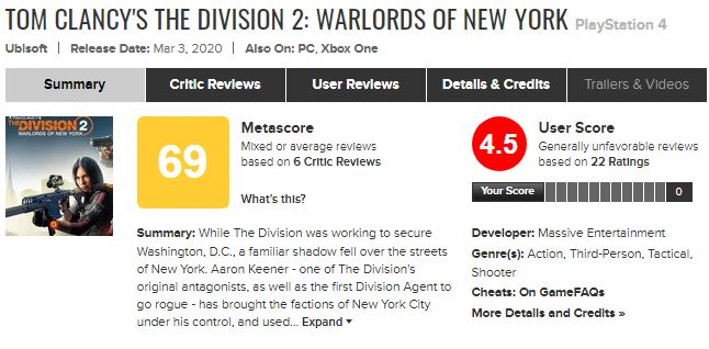 نقدها و نمرات The Division 2: Warlords of New York منتشر شد 5