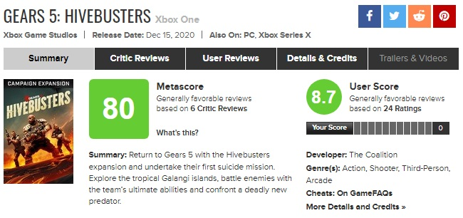نمرات Gears 5: Hivebusters