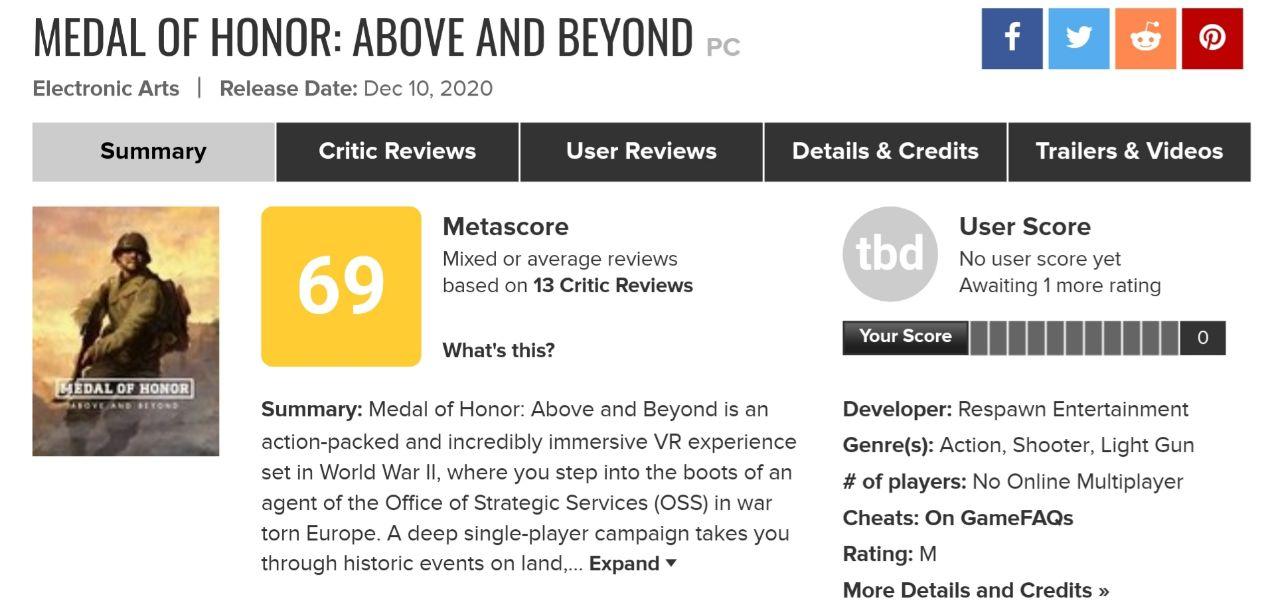 نمرات Medal of Honor: Above And Beyond